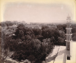 View of the garden from the platform of Jahangir's Tomb, with corner minaret in right foreground, Shahdara, Lahore.